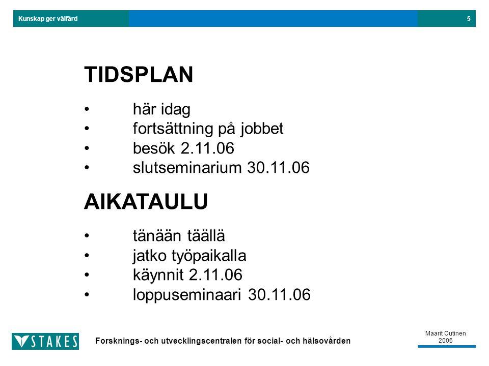 Forsknings- och utvecklingscentralen för social- och hälsovården Kunskap ger välfärd Maarit Outinen 2006 5 TIDSPLAN här idag fortsättning på jobbet besök 2.11.06 slutseminarium 30.11.06 AIKATAULU tänään täällä jatko työpaikalla käynnit 2.11.06 loppuseminaari 30.11.06