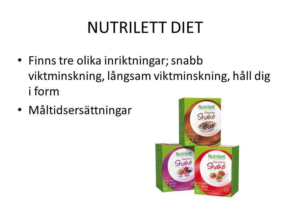 NUTRILETT DIET Finns tre olika inriktningar; snabb viktminskning, långsam viktminskning, håll dig i form Måltidsersättningar
