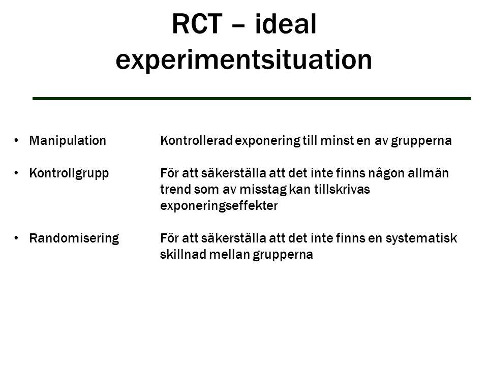RCT – ideal experimentsituation ManipulationKontrollerad exponering till minst en av grupperna Kontrollgrupp För att säkerställa att det inte finns nå