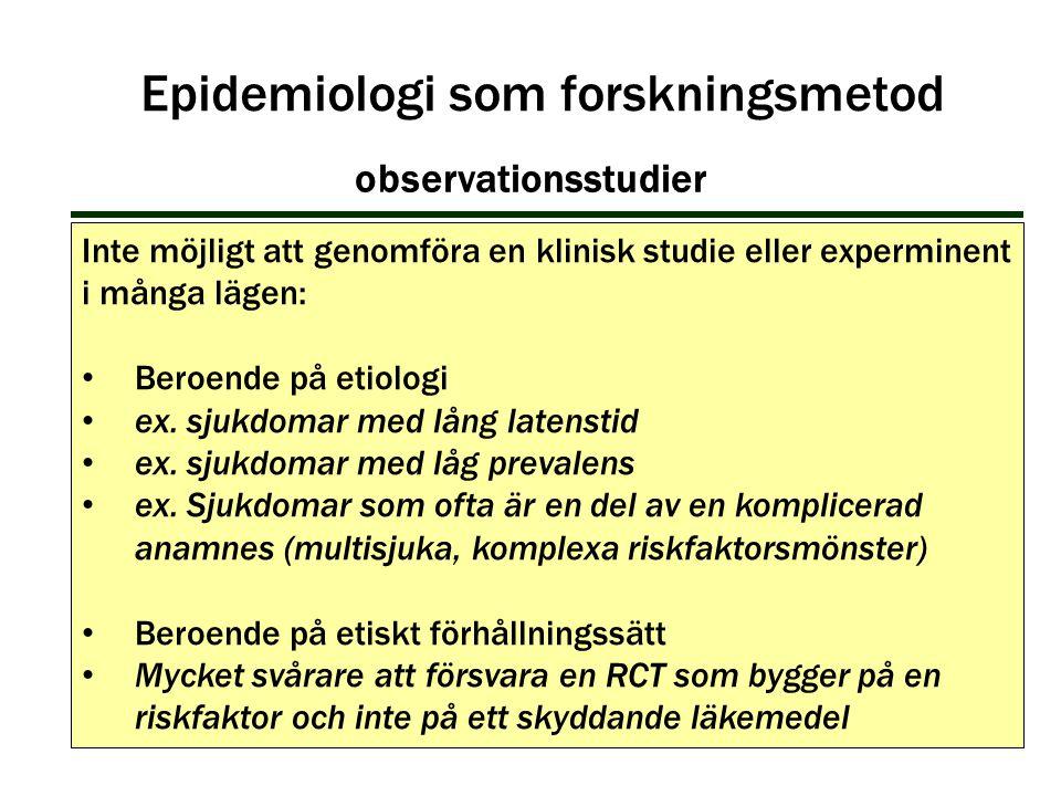 Inte möjligt att genomföra en klinisk studie eller experminent i många lägen: Beroende på etiologi ex. sjukdomar med lång latenstid ex. sjukdomar med