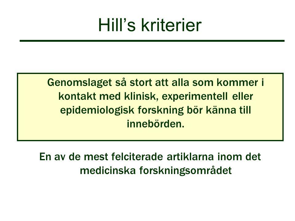 Hill's kriterier Genomslaget så stort att alla som kommer i kontakt med klinisk, experimentell eller epidemiologisk forskning bör känna till innebörde