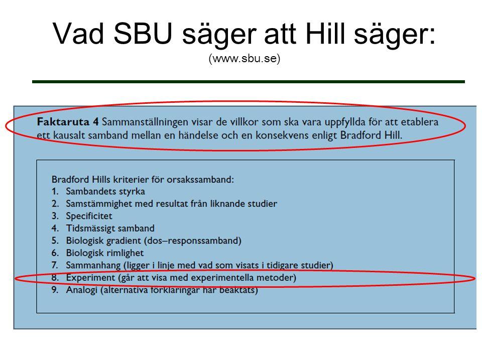 Vad SBU säger att Hill säger: (www.sbu.se)
