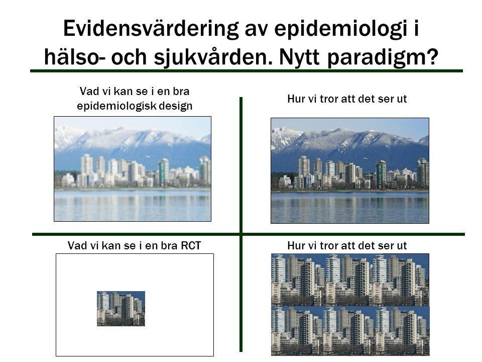 Evidensvärdering av epidemiologi i hälso- och sjukvården. Nytt paradigm? Vad vi kan se i en bra epidemiologisk design Hur vi tror att det ser ut Vad v