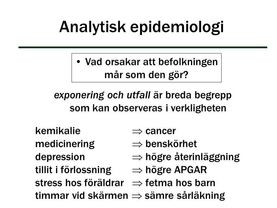 Analytisk epidemiologi exponering och utfall är breda begrepp som kan observeras i verkligheten Vad orsakar att befolkningen mår som den gör? kemikali