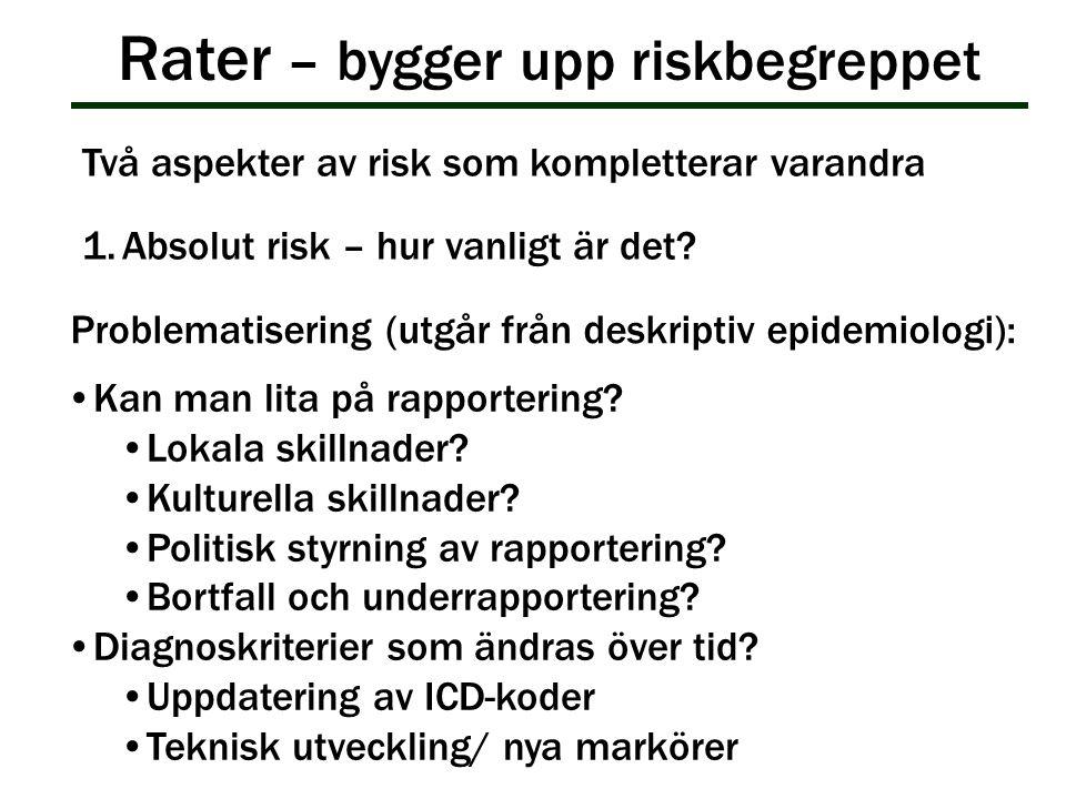 Rater – bygger upp riskbegreppet Kan man lita på rapportering? Lokala skillnader? Kulturella skillnader? Politisk styrning av rapportering? Bortfall o