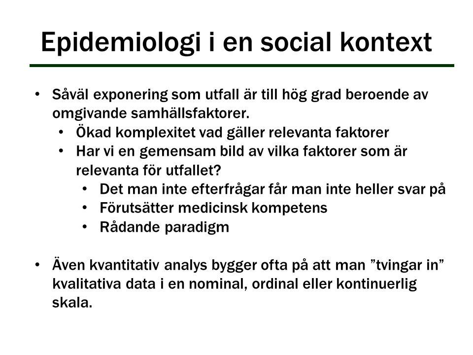Epidemiologi i en social kontext Såväl exponering som utfall är till hög grad beroende av omgivande samhällsfaktorer. Ökad komplexitet vad gäller rele