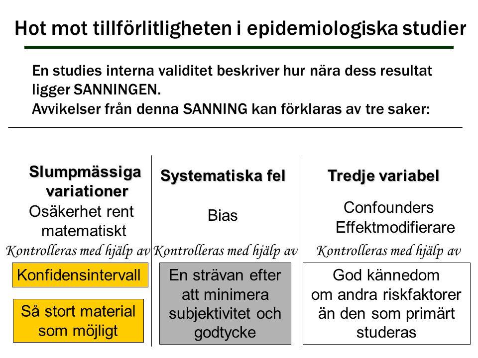 Hot mot tillförlitligheten i epidemiologiska studier Slumpmässigavariationer En studies interna validitet beskriver hur nära dess resultat ligger SANN