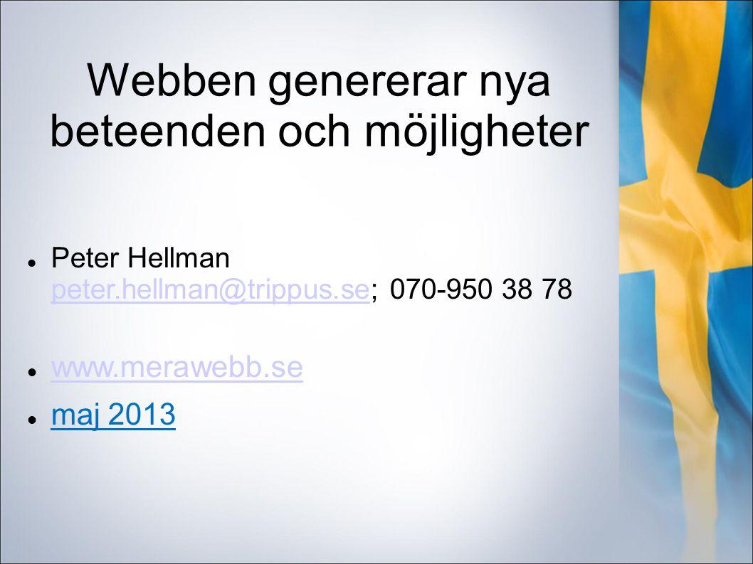 Webben genererar nya beteenden och möjligheter Peter Hellman peter.hellman@trippus.se; 070-950 38 78 peter.hellman@trippus.se www.merawebb.se maj 2013