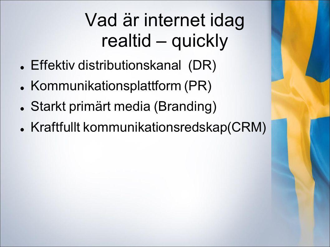 Vad är internet idag realtid – quickly Effektiv distributionskanal (DR) Kommunikationsplattform (PR) Starkt primärt media (Branding) Kraftfullt kommunikationsredskap(CRM)