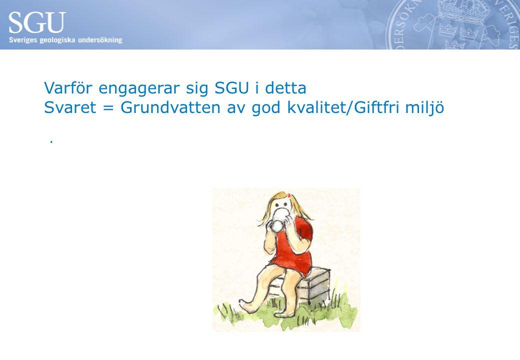 Varför engagerar sig SGU i detta Svaret = Grundvatten av god kvalitet/Giftfri miljö.