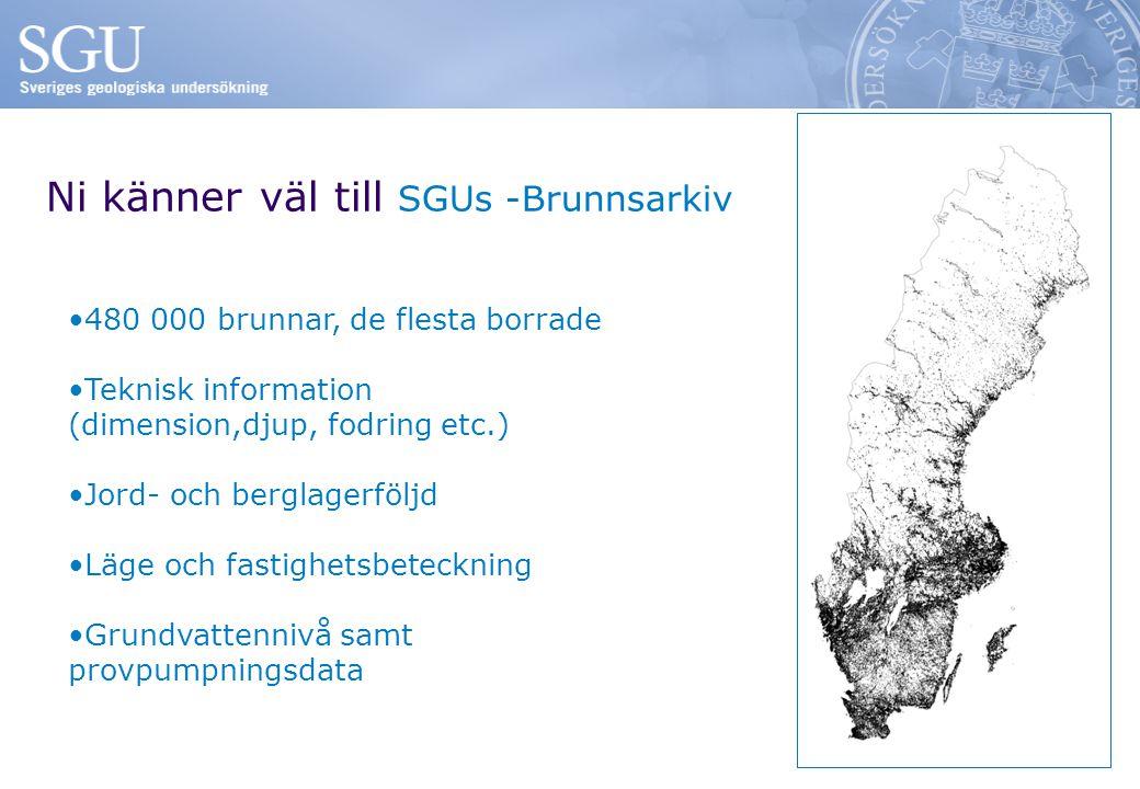 Ni känner väl till SGUs -Brunnsarkiv 480 000 brunnar, de flesta borrade Teknisk information (dimension,djup, fodring etc.) Jord- och berglagerföljd Läge och fastighetsbeteckning Grundvattennivå samt provpumpningsdata