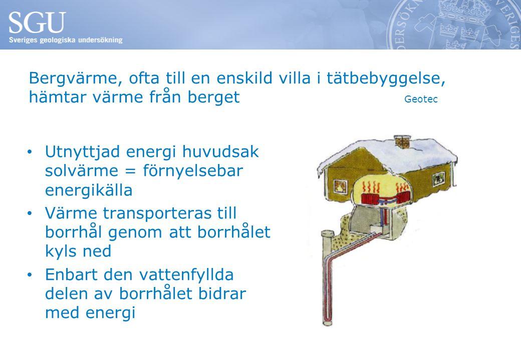 Bergvärme, ofta till en enskild villa i tätbebyggelse, hämtar värme från berget Geotec Utnyttjad energi huvudsak solvärme = förnyelsebar energikälla Värme transporteras till borrhål genom att borrhålet kyls ned Enbart den vattenfyllda delen av borrhålet bidrar med energi