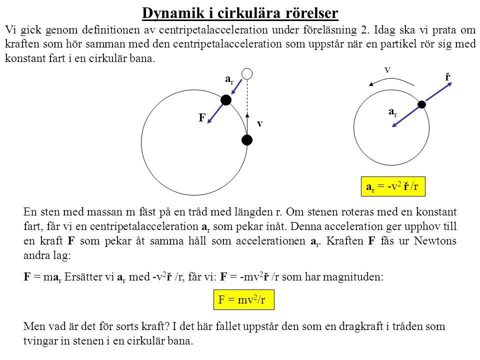 Dynamik i cirkulära rörelser Vi gick genom definitionen av centripetalacceleration under föreläsning 2. Idag ska vi prata om kraften som hör samman me