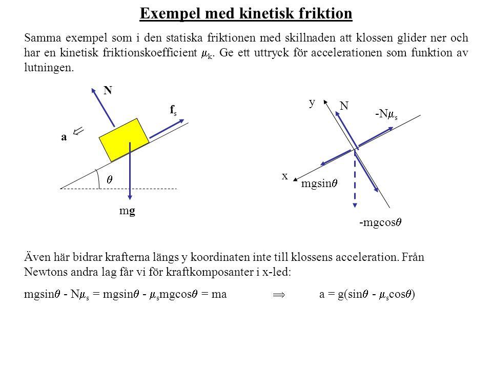 Exempel med kinetisk friktion Samma exempel som i den statiska friktionen med skillnaden att klossen glider ner och har en kinetisk friktionskoefficie