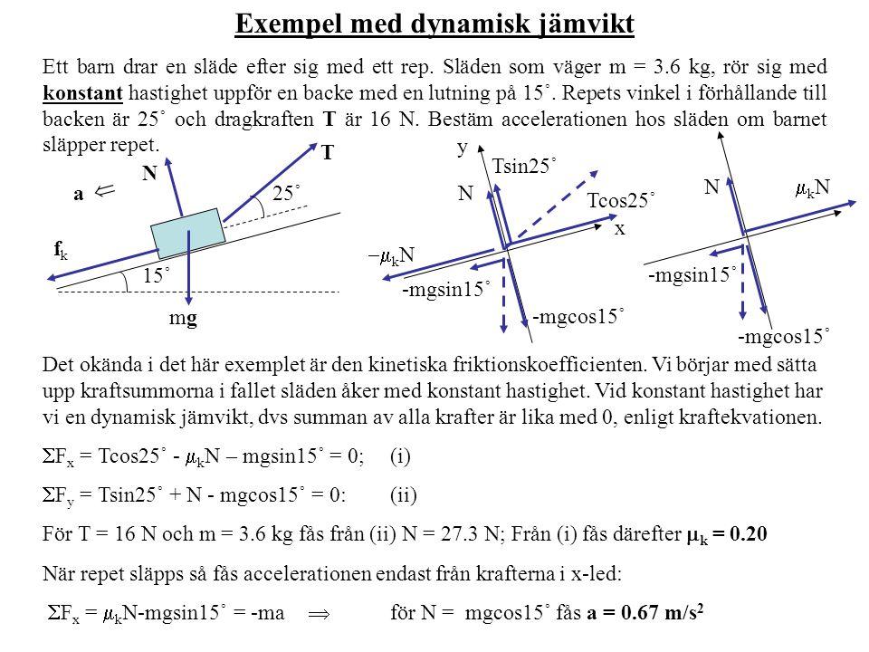 Exempel med dynamisk jämvikt Ett barn drar en släde efter sig med ett rep. Släden som väger m = 3.6 kg, rör sig med konstant hastighet uppför en backe