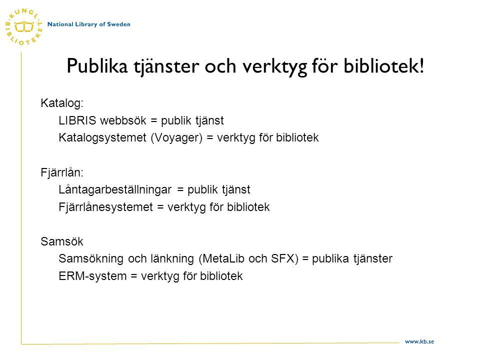 www.kb.se Publika tjänster och verktyg för bibliotek.