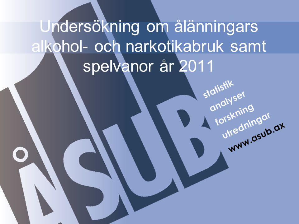 Undersökningens syfte, metod och urval Syfte Kartlägga ålänningarnas tobaks-, alkoholvanor och bruk av narkotika samt jämföra hur dryckesvanorna och -mönstren har förändrats under de senaste fem respektive tio åren.