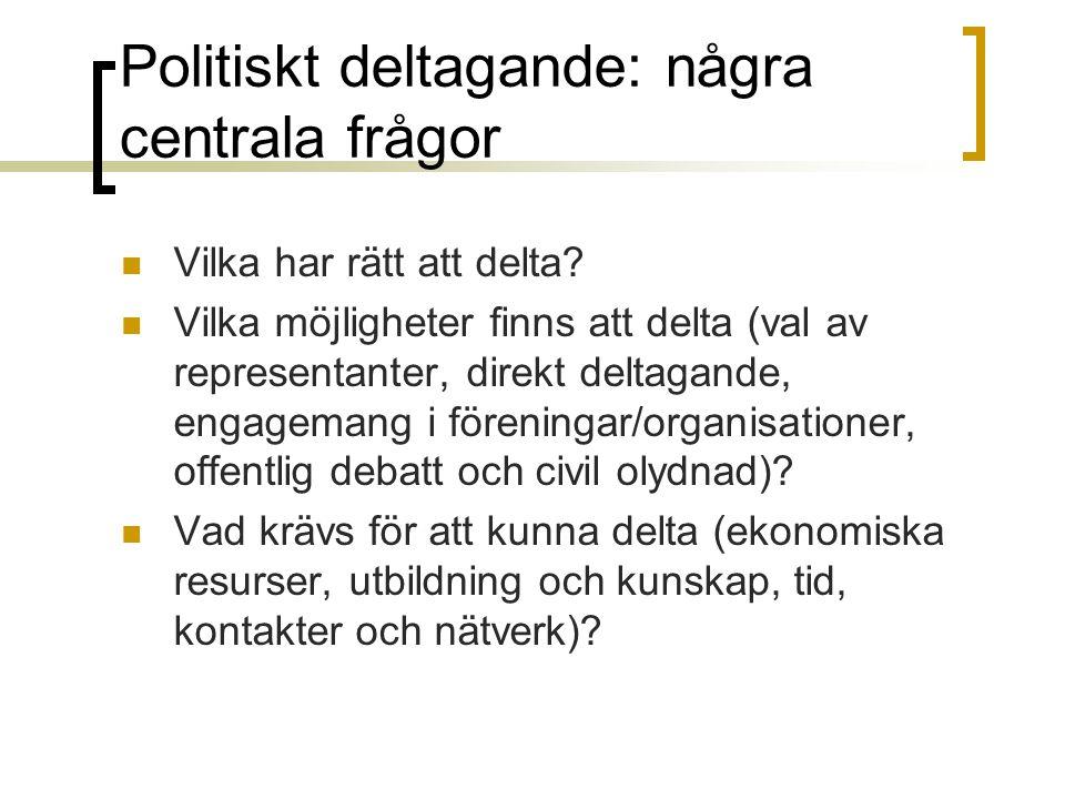 Politiskt deltagande: några centrala frågor Vilka har rätt att delta? Vilka möjligheter finns att delta (val av representanter, direkt deltagande, eng