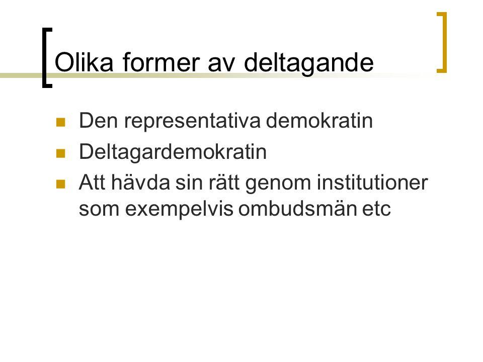 Olika former av deltagande Den representativa demokratin Deltagardemokratin Att hävda sin rätt genom institutioner som exempelvis ombudsmän etc