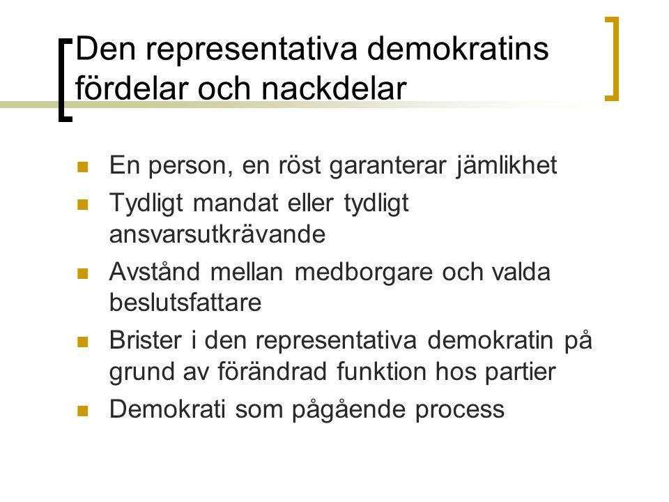 Den representativa demokratins fördelar och nackdelar En person, en röst garanterar jämlikhet Tydligt mandat eller tydligt ansvarsutkrävande Avstånd m
