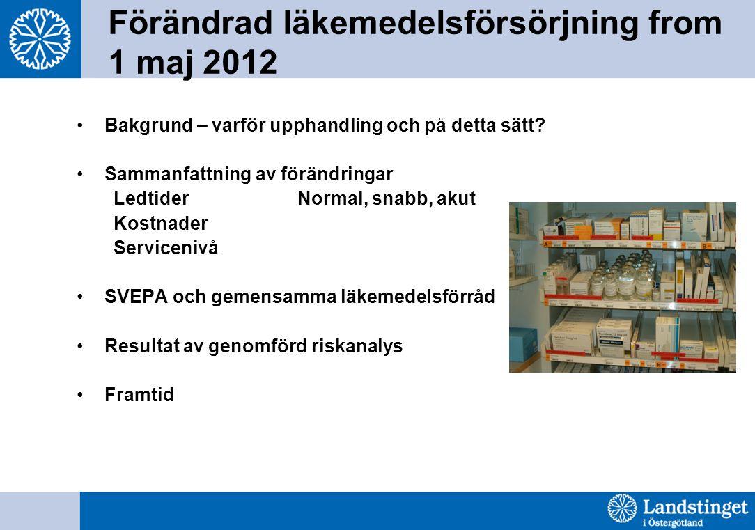 Förändrad läkemedelsförsörjning from 1 maj 2012 Bakgrund – varför upphandling och på detta sätt? Sammanfattning av förändringar Ledtider Normal, snabb