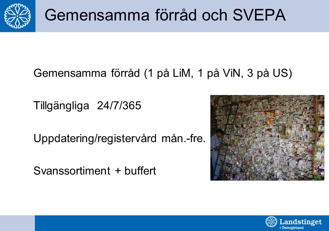 Gemensamma förråd och SVEPA Gemensamma förråd (1 på LiM, 1 på ViN, 3 på US) Tillgängliga 24/7/365 Uppdatering/registervård mån.-fre. Svanssortiment +