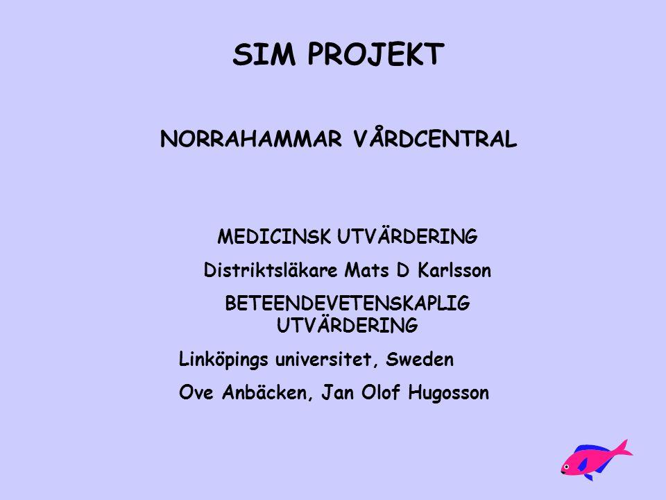 SIM PROJEKT NORRAHAMMAR VÅRDCENTRAL MEDICINSK UTVÄRDERING Distriktsläkare Mats D Karlsson BETEENDEVETENSKAPLIG UTVÄRDERING Linköpings universitet, Swe