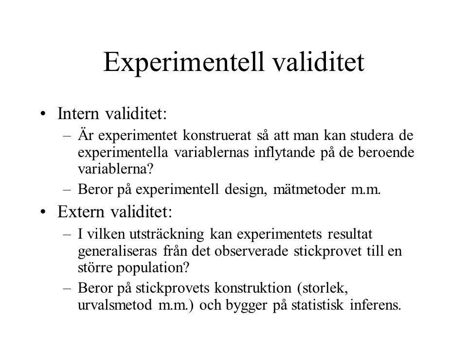 Experimentell validitet Intern validitet: –Är experimentet konstruerat så att man kan studera de experimentella variablernas inflytande på de beroende variablerna.