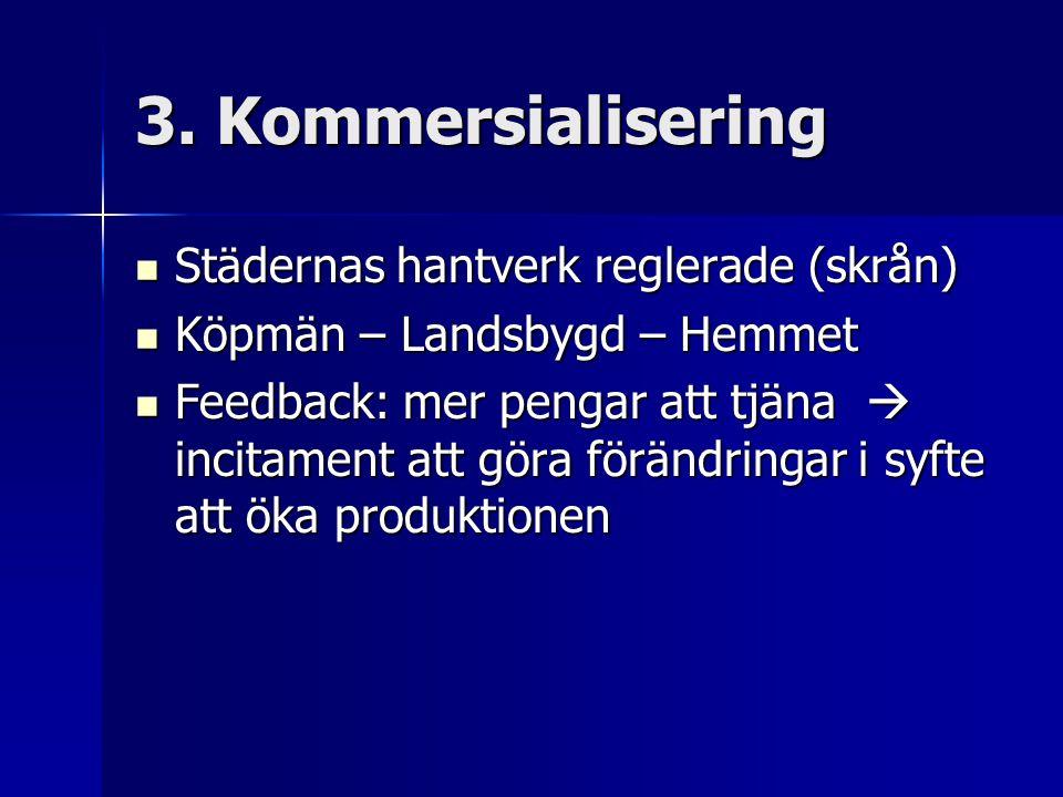 3. Kommersialisering Städernas hantverk reglerade (skrån) Städernas hantverk reglerade (skrån) Köpmän – Landsbygd – Hemmet Köpmän – Landsbygd – Hemmet