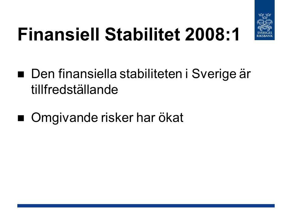 Den finansiella stabiliteten i Sverige är tillfredställande Omgivande risker har ökat Finansiell Stabilitet 2008:1