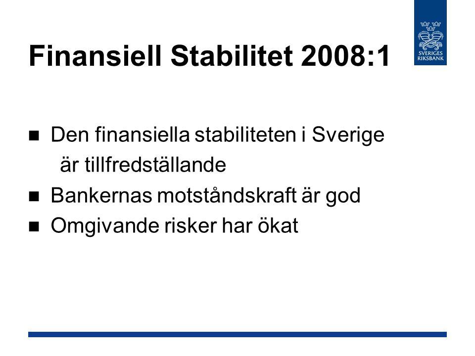 Den finansiella stabiliteten i Sverige är tillfredställande Bankernas motståndskraft är god Omgivande risker har ökat Finansiell Stabilitet 2008:1