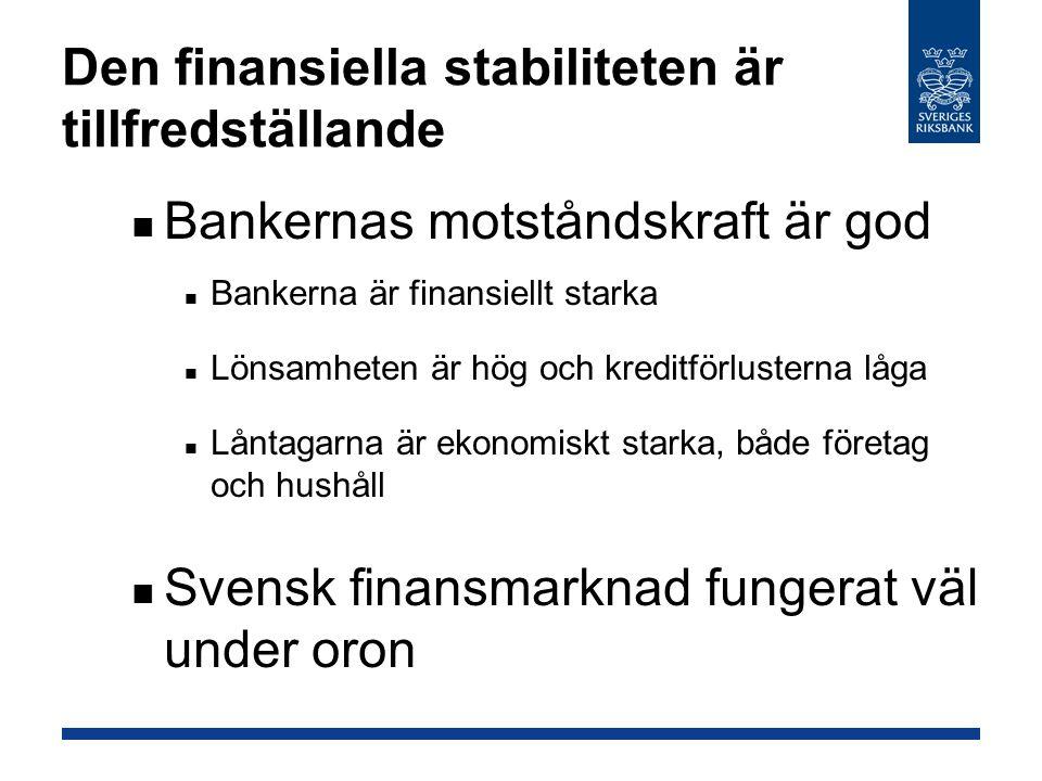 Den finansiella stabiliteten är tillfredställande Bankernas motståndskraft är god Bankerna är finansiellt starka Lönsamheten är hög och kreditförlusterna låga Låntagarna är ekonomiskt starka, både företag och hushåll Svensk finansmarknad fungerat väl under oron