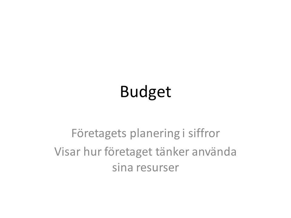 Budget Företagets planering i siffror Visar hur företaget tänker använda sina resurser