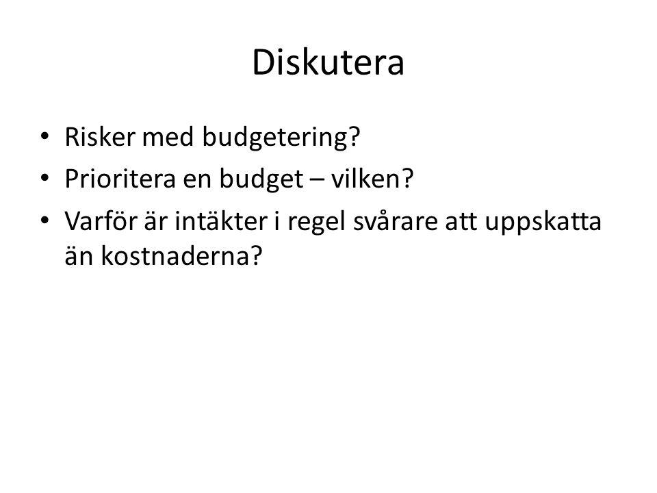 Diskutera Risker med budgetering? Prioritera en budget – vilken? Varför är intäkter i regel svårare att uppskatta än kostnaderna?