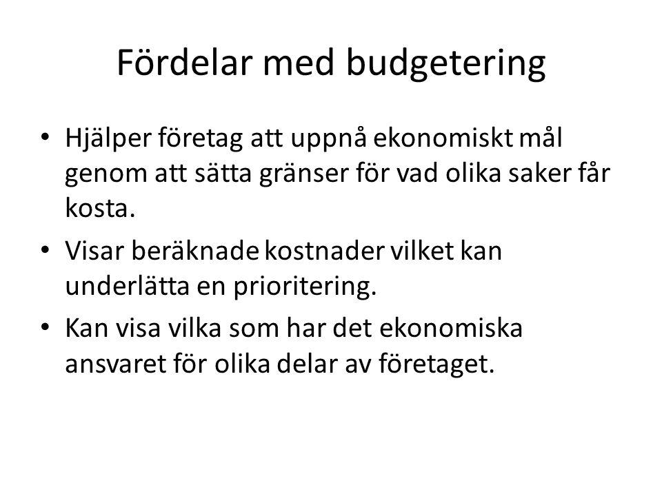 Fördelar med budgetering Hjälper företag att uppnå ekonomiskt mål genom att sätta gränser för vad olika saker får kosta. Visar beräknade kostnader vil