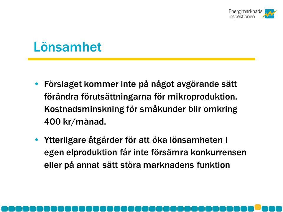 Lönsamhet Förslaget kommer inte på något avgörande sätt förändra förutsättningarna för mikroproduktion. Kostnadsminskning för småkunder blir omkring 4