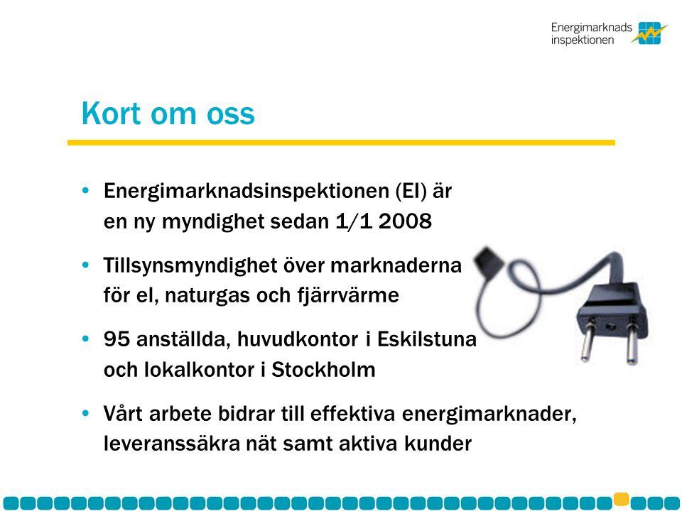Kort om oss Energimarknadsinspektionen (EI) är en ny myndighet sedan 1/1 2008 Tillsynsmyndighet över marknaderna för el, naturgas och fjärrvärme 95 an