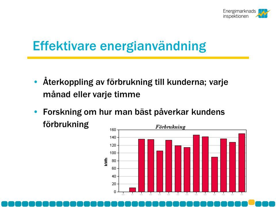 Effektivare energianvändning Återkoppling av förbrukning till kunderna; varje månad eller varje timme Forskning om hur man bäst påverkar kundens förbr