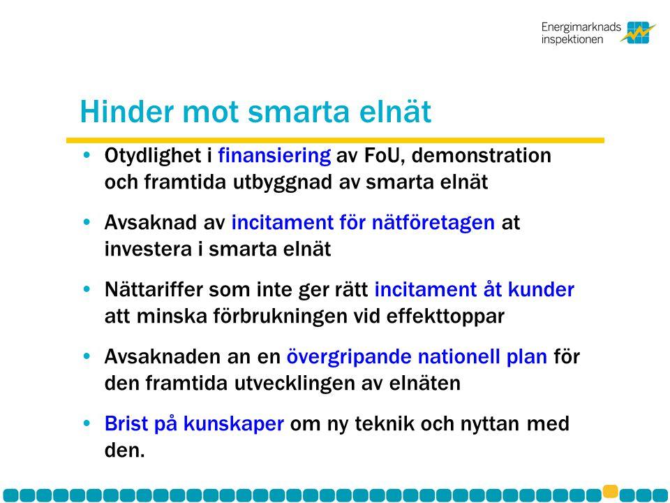 Hinder mot smarta elnät Otydlighet i finansiering av FoU, demonstration och framtida utbyggnad av smarta elnät Avsaknad av incitament för nätföretagen