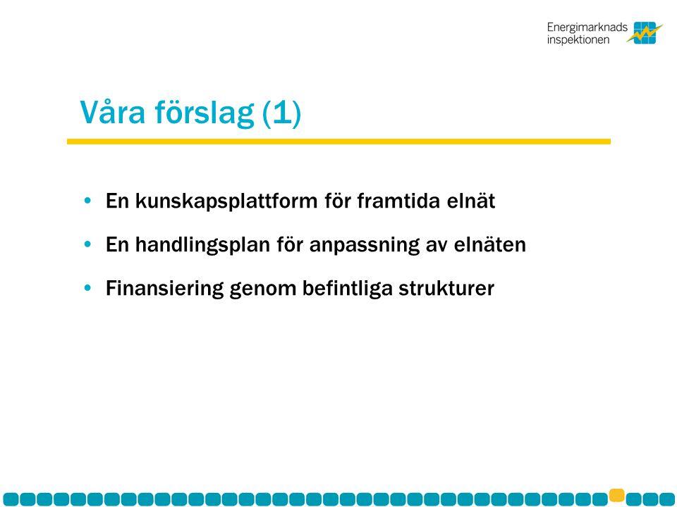 Våra förslag (1) En kunskapsplattform för framtida elnät En handlingsplan för anpassning av elnäten Finansiering genom befintliga strukturer