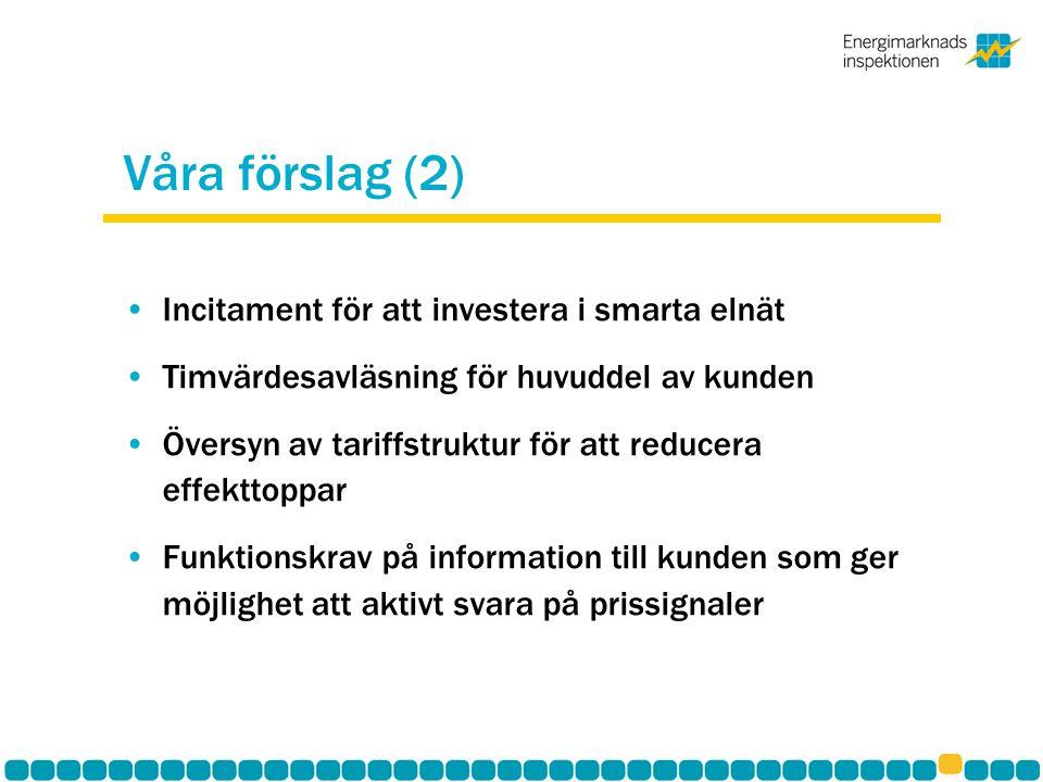 Våra förslag (2) Incitament för att investera i smarta elnät Timvärdesavläsning för huvuddel av kunden Översyn av tariffstruktur för att reducera effe