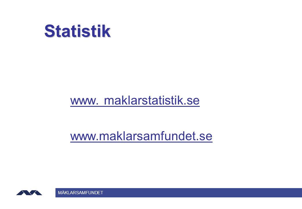 MÄKLARSAMFUNDET Statistik www. maklarstatistik.se www.maklarsamfundet.se