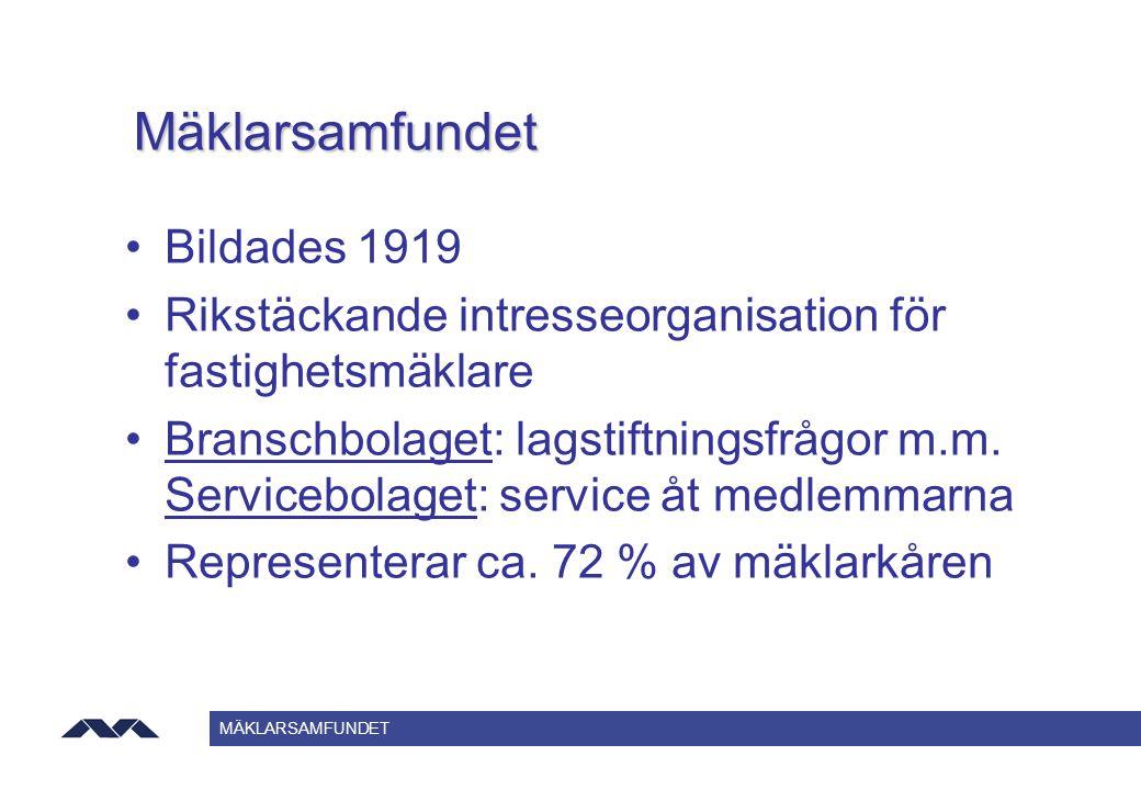 MÄKLARSAMFUNDET Mäklarsamfundet Bildades 1919 Rikstäckande intresseorganisation för fastighetsmäklare Branschbolaget: lagstiftningsfrågor m.m. Service