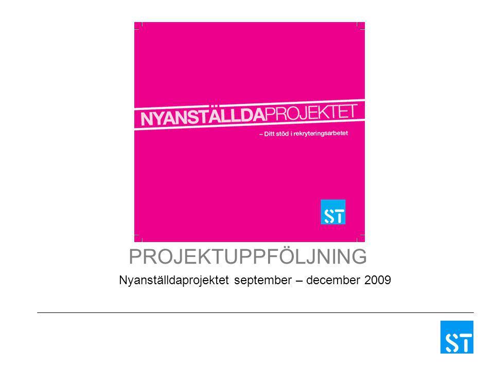 PROJEKTUPPFÖLJNING Nyanställdaprojektet september – december 2009