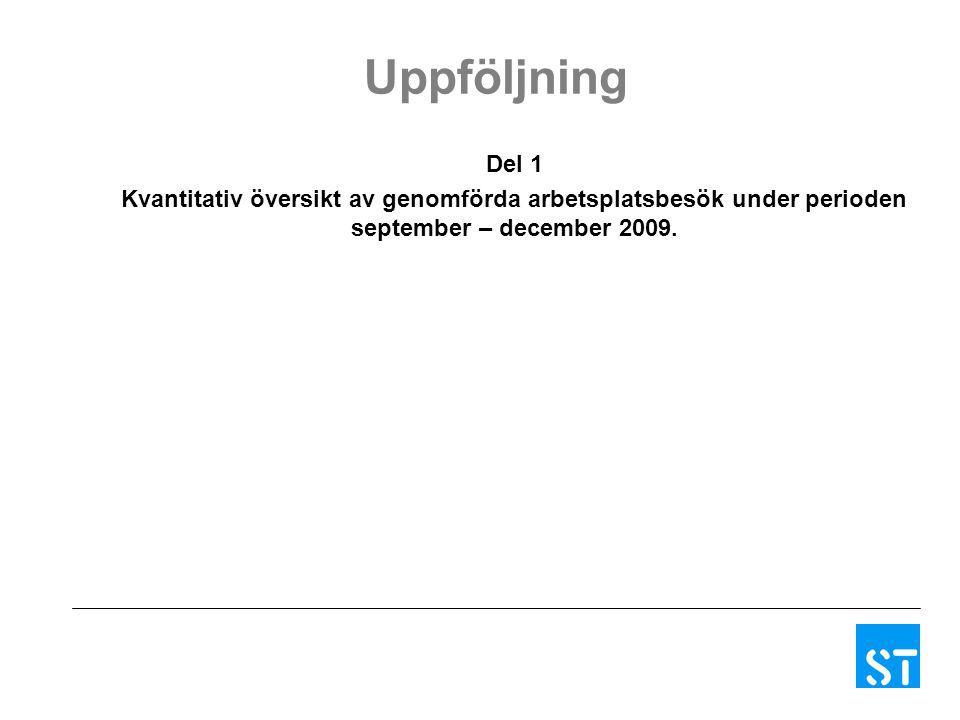 Uppföljning Del 1 Kvantitativ översikt av genomförda arbetsplatsbesök under perioden september – december 2009.