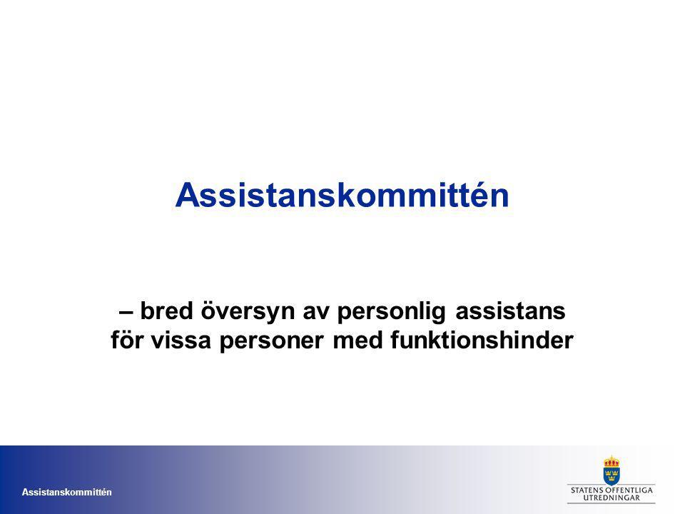 Assistanskommittén – bred översyn av personlig assistans för vissa personer med funktionshinder