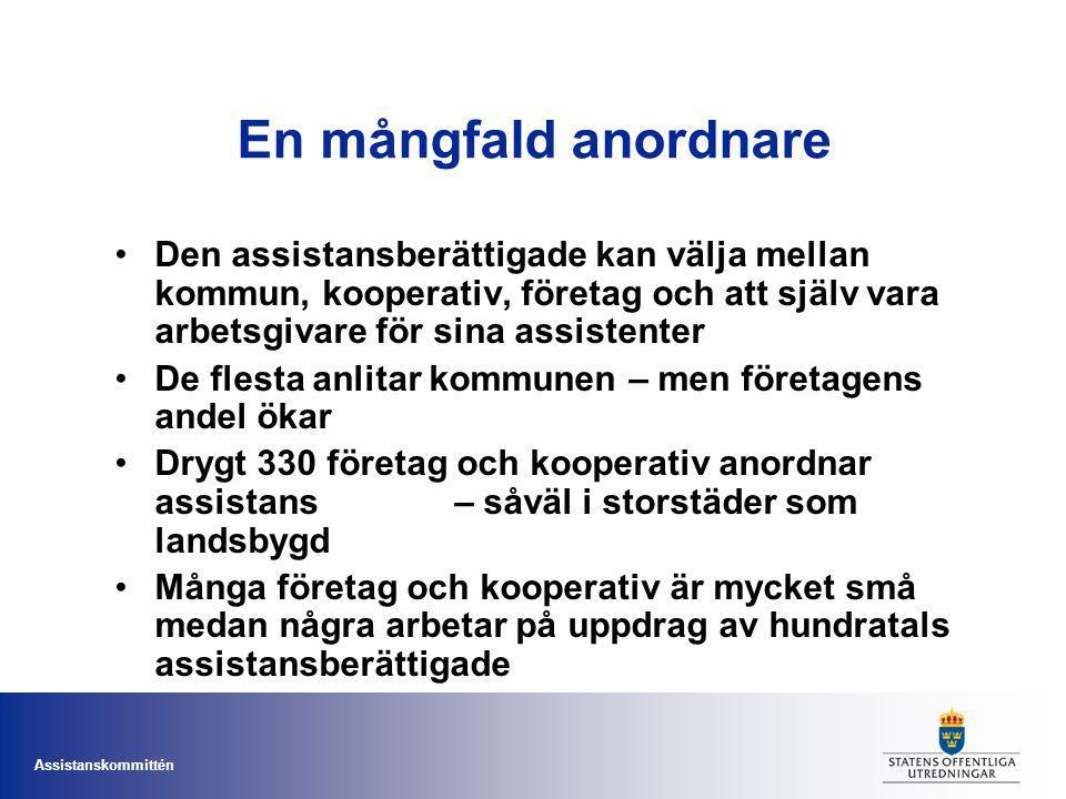 Assistanskommittén En mångfald anordnare Den assistansberättigade kan välja mellan kommun, kooperativ, företag och att själv vara arbetsgivare för sin