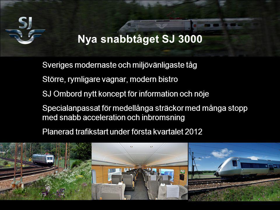 Nya snabbtåget SJ 3000 Sveriges modernaste och miljövänligaste tåg Större, rymligare vagnar, modern bistro SJ Ombord nytt koncept för information och nöje Specialanpassat för medellånga sträckor med många stopp med snabb acceleration och inbromsning Planerad trafikstart under första kvartalet 2012