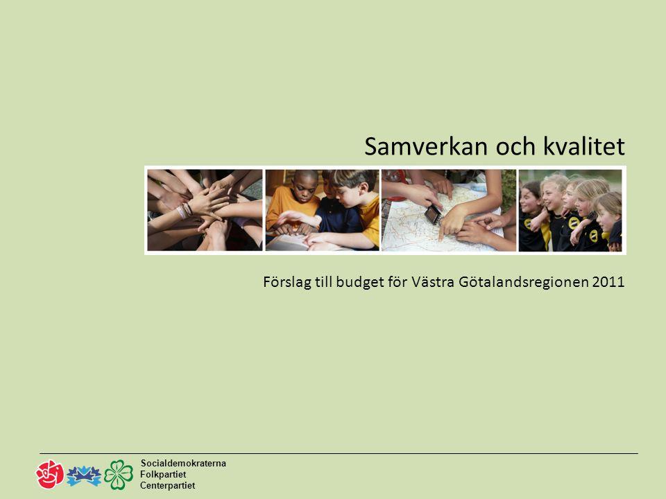 Socialdemokraterna Folkpartiet Centerpartiet 2 Förslag till budget 2011 Samverkan och kvalitet Ständigt förbättringsarbete för bättre kvalitet i vården Satsning på kollektivtrafik och infrastruktur Samverkan för utveckling av kulturlivet Osäkerhet om den ekonomiska utvecklingen