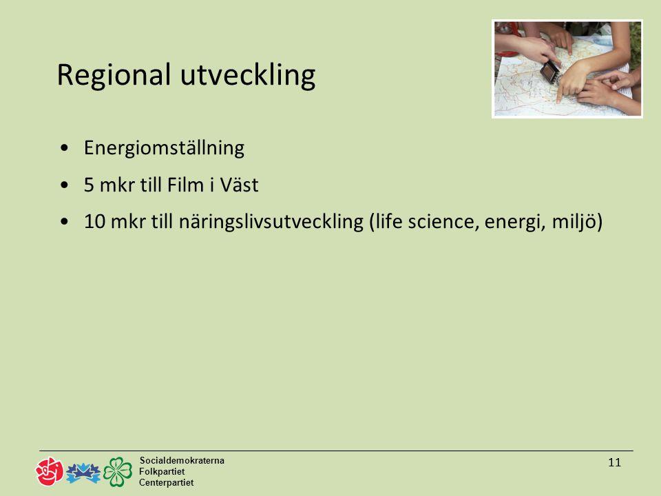 Socialdemokraterna Folkpartiet Centerpartiet 11 Regional utveckling Energiomställning 5 mkr till Film i Väst 10 mkr till näringslivsutveckling (life science, energi, miljö) 11